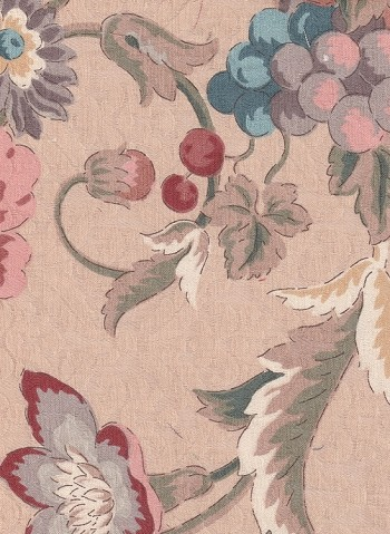 Waverly Beige Red Blue Floral Cotton Print