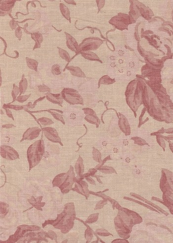 Waverly Rosewood Beige Pale Red Floral Cotton Print