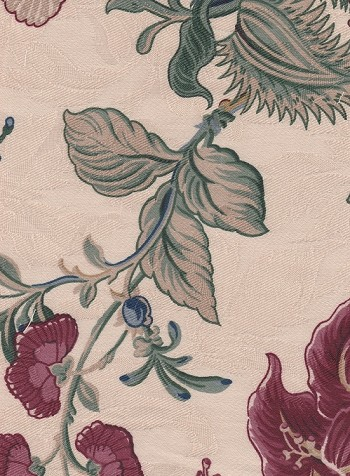 Waverly Montague Beige Red Green Floral Cotton Print
