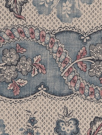 Waverly Charade Vintage Blue Cream Cotton Print
