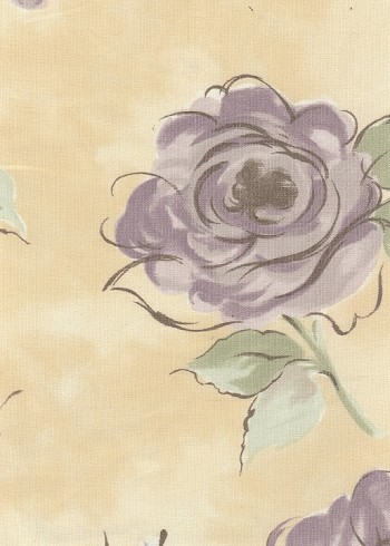 Ametex Cream Violet Green Floral Cotton Print