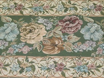 12.4 yards Stephanie Aspen Green Red Blue Floral Panel Stripe