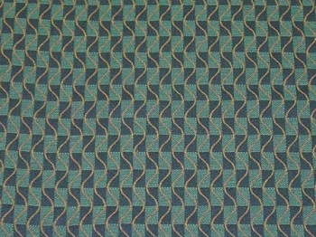 3.8 yards Blue Gold Check Pattern Upholstery Fabric