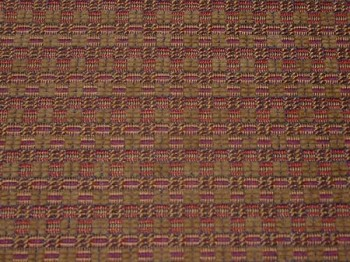 7.7 yds Tan Blue Red Small Checker Pattern Upholstery Fabric