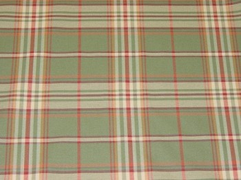 2 yds Green Red Gold Plaid Upholstery Fabric