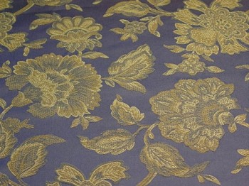 1.5 yds Blue Gold Floral Pattern Upholstery Fabric