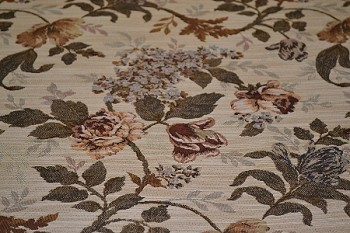 4.1 yds Patriot Sage Beige Red Floral Upholstery Fabric