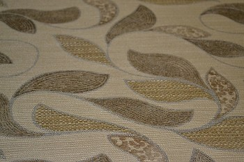 2.9 yds Ibiza Lotion Brown Leaf Upholstery Fabric