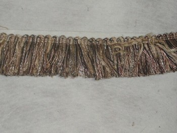 Bonfire Birch 1 3/4 inch Fringe Trim Tan Black Gold
