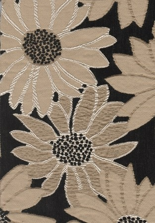 Kayfare Peppercorn Black Gold Flower Upholstery Fabric