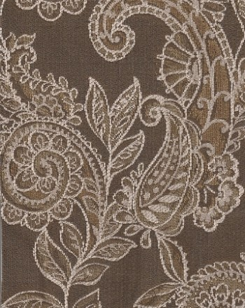 Pierce Mocha Brown Ivory Floral Design Upholstery Fabric