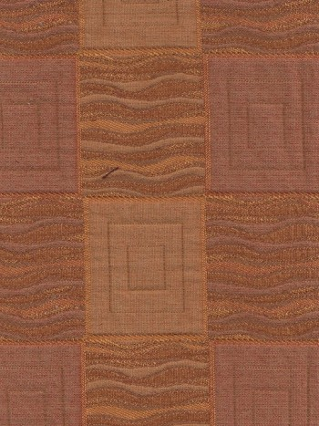 Two Tone Rust Color Square Design Upholstery Fabric