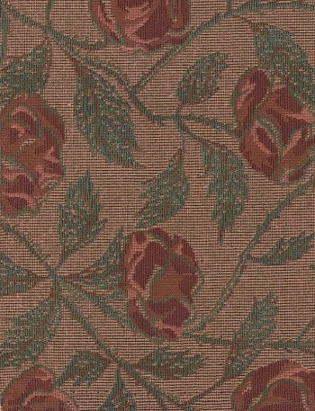 Gold Red Green Floral Upholstery Fabric