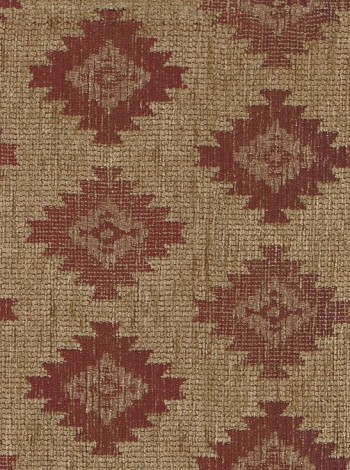 Maroon Light Brown Western Design Upholstery Fabric