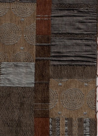 Modern Squares Brown Tan Upholstery Fabric