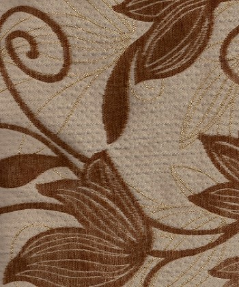 Brown Tan Gold Floral Upholstery Fabric