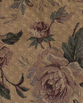 Khaki Red Green Floral Upholstery Fabric