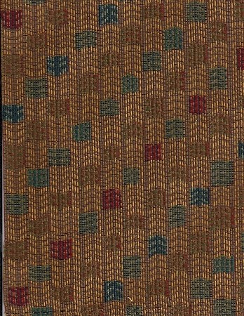 Andres Red Gold Green Square Pattern Upholstery Fabric