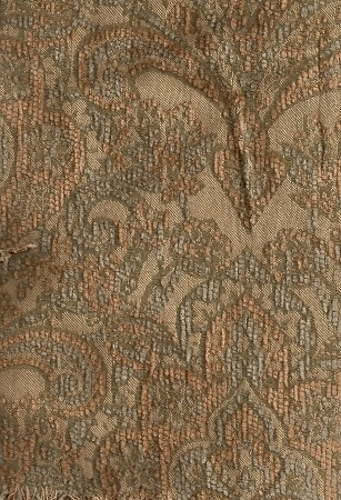 Gold Brown Victorian Pattern Upholstery Fabric