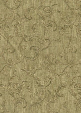 Green Gold Vine Pattern Upholstery Fabric
