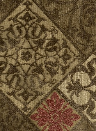 Olive Green Copper Diamond Pattern Upholstery Fabric
