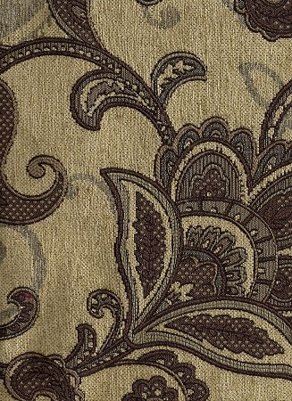 Brown Beige Paisley Design Upholstery Fabric