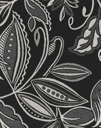 Giddy Ebony Black White Upholstery Fabric