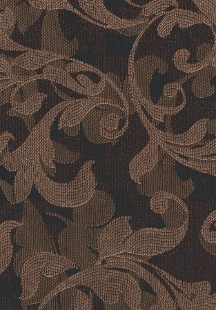 Black Brown Leaf Pattern Upholstery Fabric